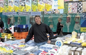 Mark Strutton selling household and fancy goods Romford Market