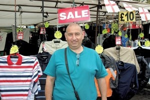 Robert Rerben selling men's clothing Romford Market