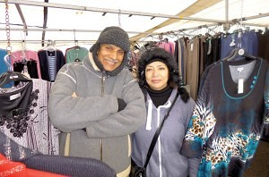 Mr & Mrs Amin selling 'Ladies Fashions' Earlestown Market